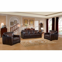 Chatsworth Casual 100% Brown Genuine Leather Sofa & Two Chairs w/ Rubbed Finish