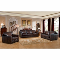 Chatsworth Casual 100% Brown Genuine Leather 3-Piece Sofa Set w/ Rubbed Finish