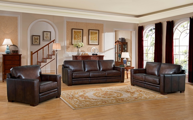 Remarkable Chatsworth Casual 100 Brown Genuine Leather 3 Piece Sofa Pabps2019 Chair Design Images Pabps2019Com