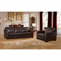 Chatsworth Casual 100% Genuine Leather Brown Sofa & Chair Set w/ Rubbed Finish
