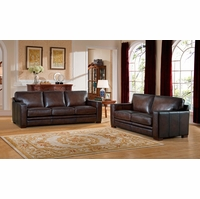 Chatsworth Casual 100% Genuine Leather Brown Sofa & Loveseat w/ Rubbed Finish