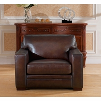 Chatsworth Casual 100% Genuine Leather Chair in Hand Rubbed Brown Finish