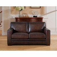 Chatsworth Casual 100% Genuine Leather Loveseat in Hand Rubbed Brown Finish