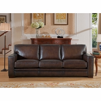 Chatsworth Casual 100% Genuine Leather Sofa in Hand Rubbed Brown Finish