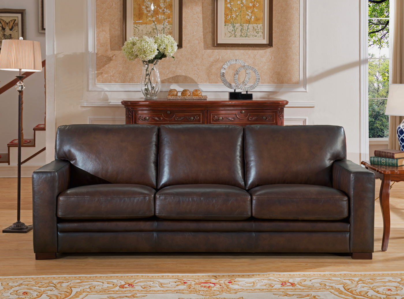 Chatsworth Casual 100 Genuine Leather Sofa In Hand Rubbed