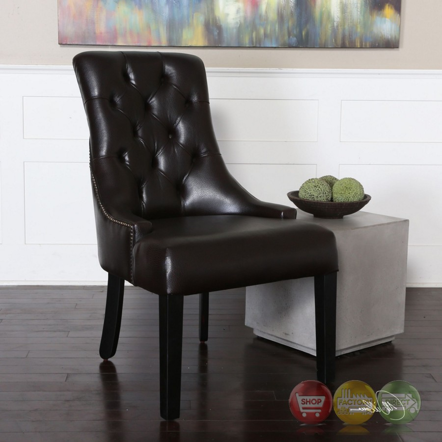 Chatten Dark Tobacco Tufted Faux Leather Accent Chair With