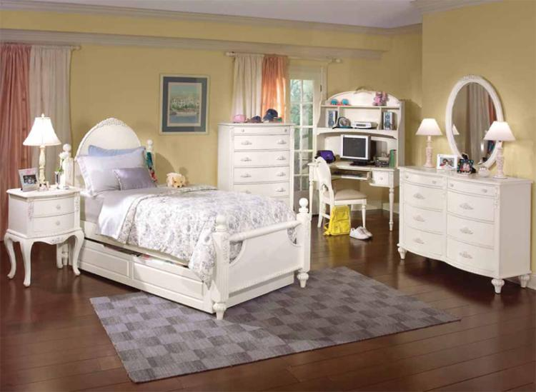 Cheri distressed white floral design youth bedroom set - Distressed bedroom furniture sets ...