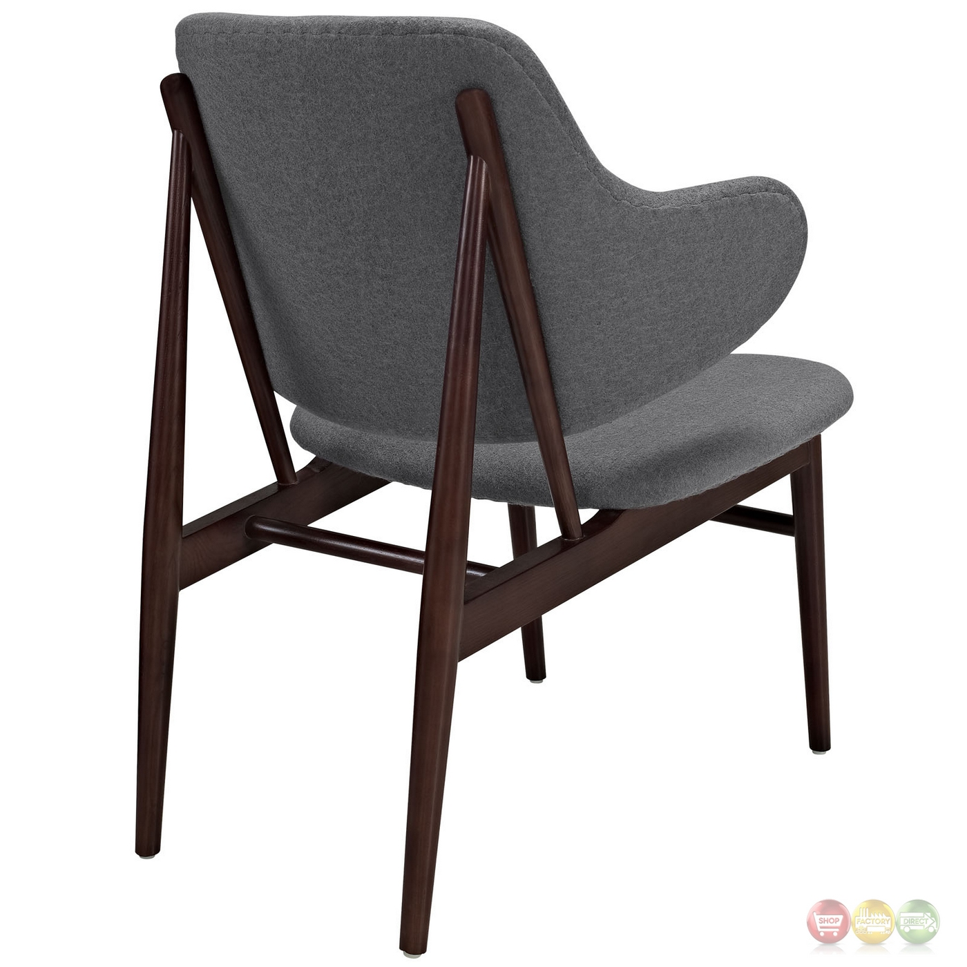 Cherish modern dark cherry wood lounge chair w upholstered for Modern wood chair