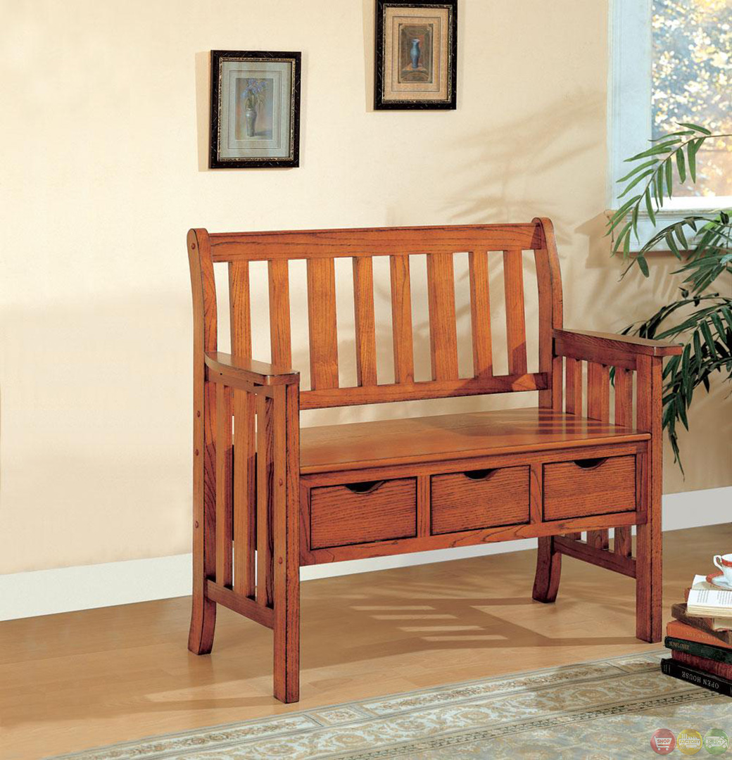 Mission Style Oak Bench W 3 Storage Drawers Wood Back Arm Rests Seat Coaster Ebay