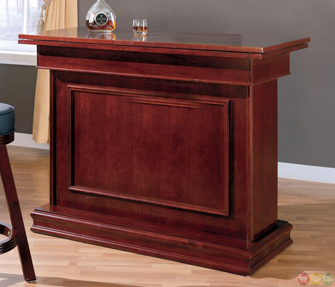 Cherry Finish Home Casino Bar Unit With Wine Storage