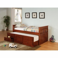 Cherry Finish Three Drawer Storage With Trundle Daybed