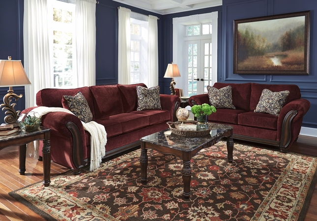 Chesterbrook Casual Sofa & Loveseat Set In Burgundy Chenille w/ Wood Trim