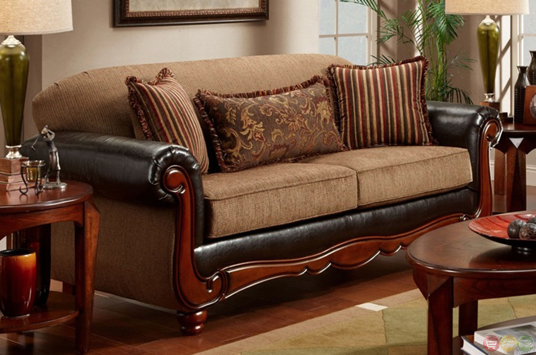 Cherry Wood Frame Radar Mocha Chenille Sofa Loveseat Set