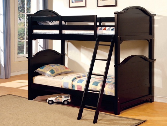 Chesapeake Black Bunk Bed with Angled Ladder