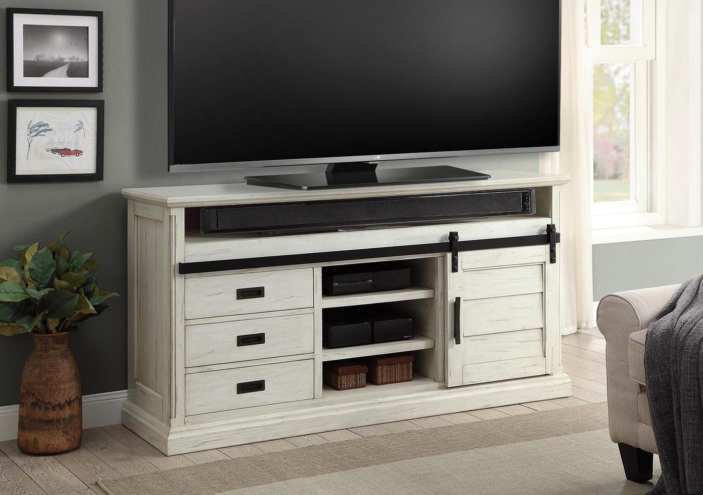 Chesapeake Country 67 Sliding Door Tv Stand In Distressed Tawny