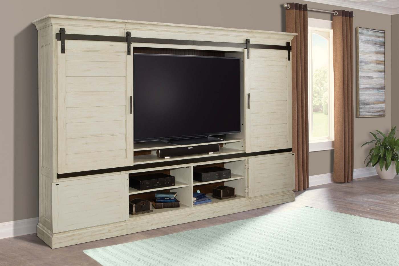Chesapeake Country Sliding Door Entertainment Center In Distressed