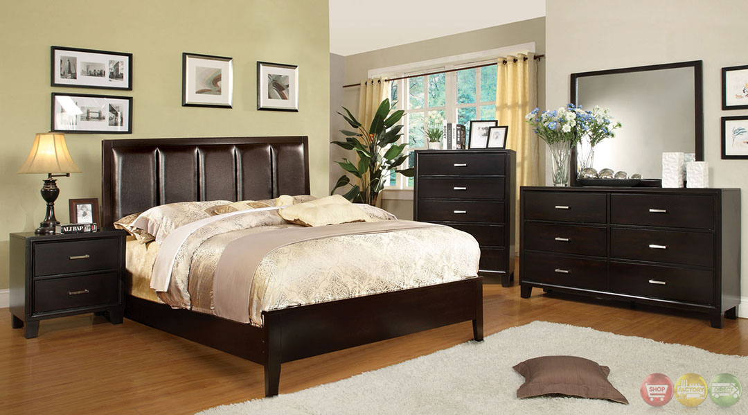Chester contemporary espresso bedroom set with leatherette for Espresso bedroom furniture