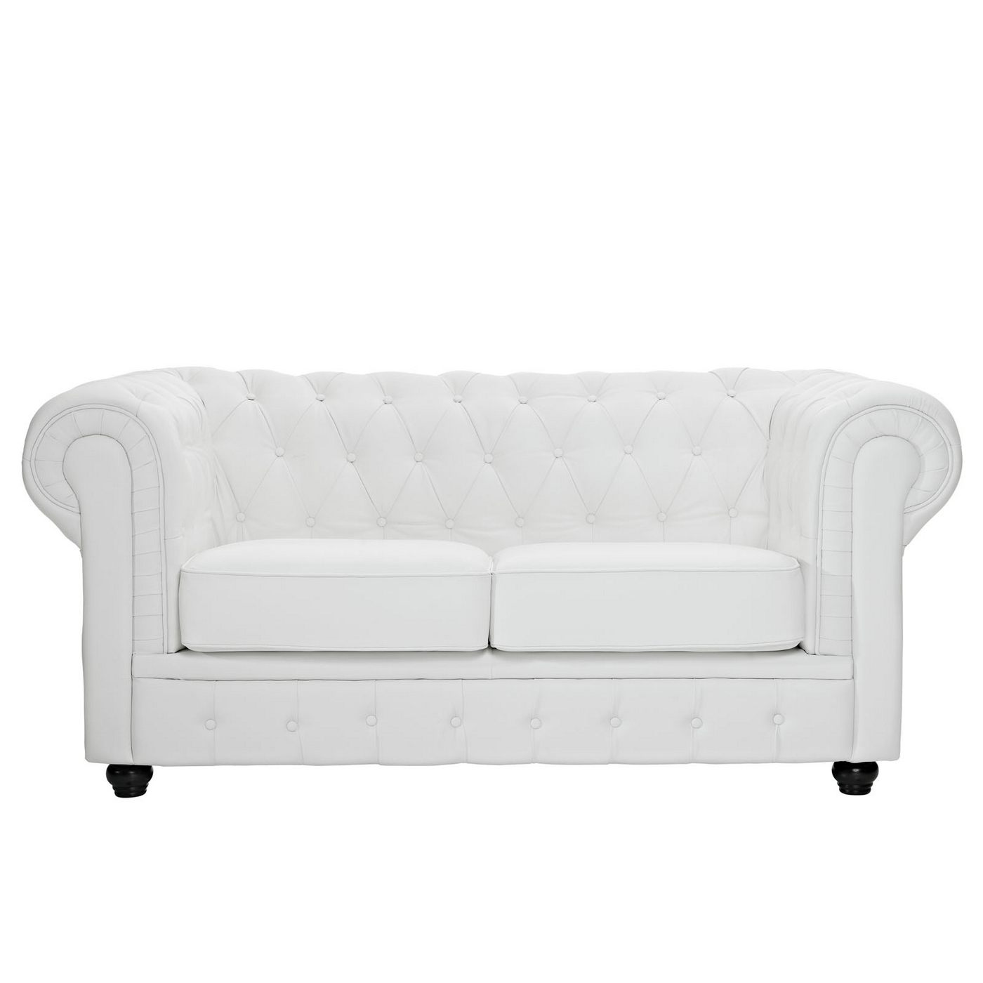 Chesterfield Modern Button Tufted Leather Loveseat W Rolled Arms White