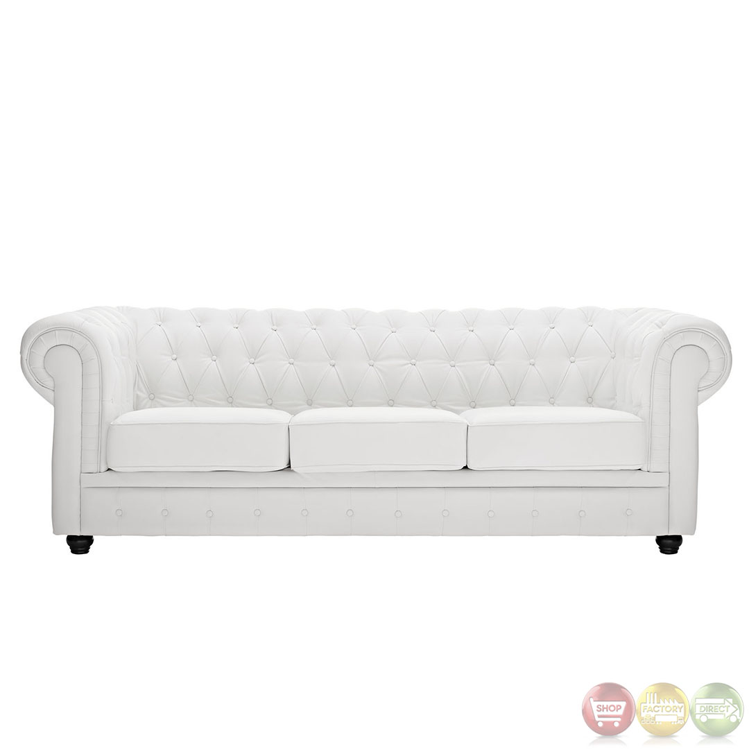 Chesterfield Contemporary Modern Sofa with Bonded Leather