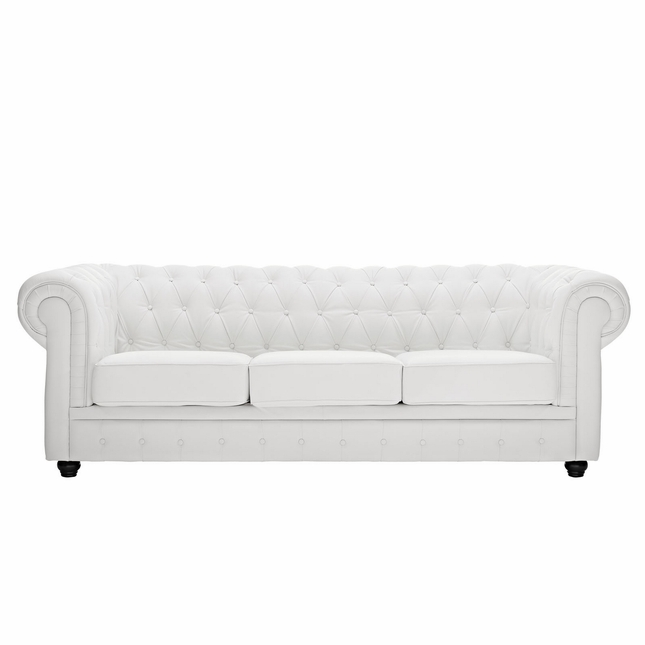 White Leather Contemporary Sectional Sofa W Ottoman: Chesterfield Modern Button-tufted Leather Sofa W/ Rolled