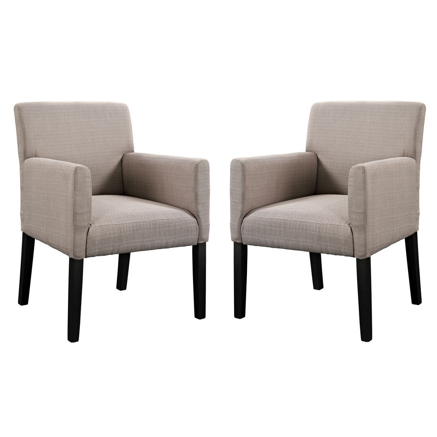 Chloe contemporary upholstered armchair with wood legs beige for Contemporary armchair