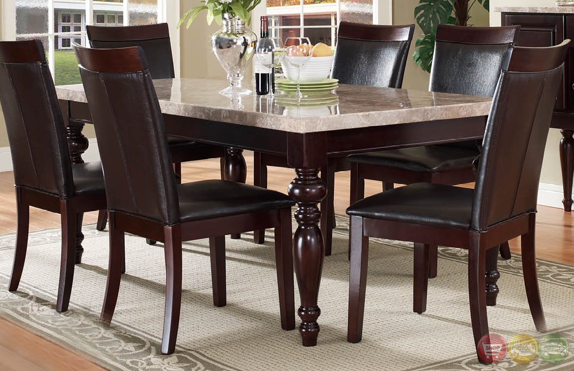 Chloe Transitional Dark Wood Casual Dining Set With