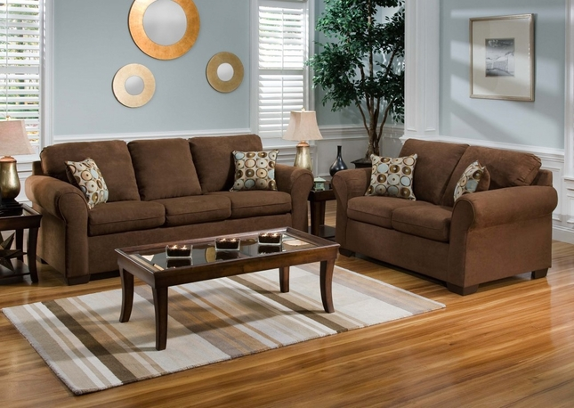 Chocolate Brown Microfiber Sofa And Love Seat Living Room Furniture Set