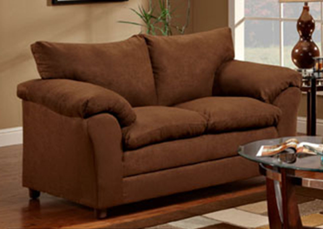 Chocolate microfiber upholstered sofa and love seat set Microfiber sofa and loveseat set