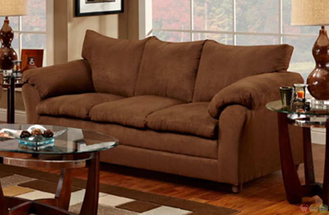 Chocolate Microfiber Upholstered Sofa And Love Seat Set