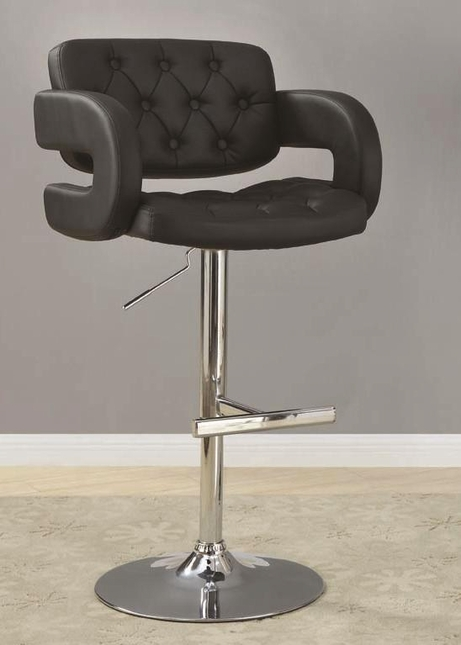 Chrome Button Tufted 29 Inch Pedestal Base Bar Stool