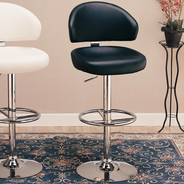 Chrome Finish Faux Leather Upholstery 29 Inch Bar Stool