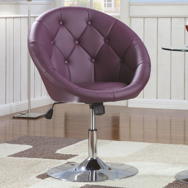 Adjustable Pedestal Base Swivel Chair Purple And Chrome