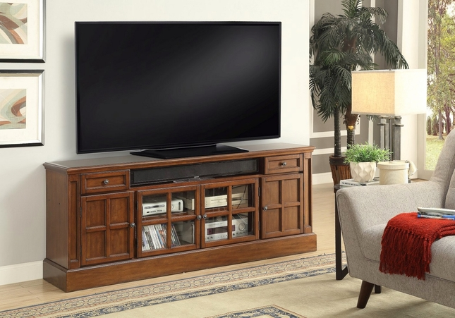 """Churchill Traditional 72"""" TV Stand w/ Power Center in Musket Brown Birch"""