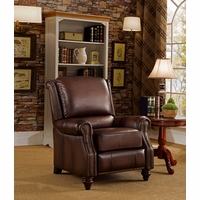 Churchill Traditional Genuine Brown Leather Pushback Reclining Chair