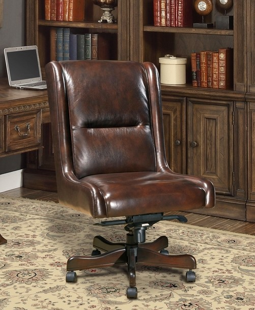 Cigar Brown Genuine Leather Armless Desk Chair Traditional Office ...
