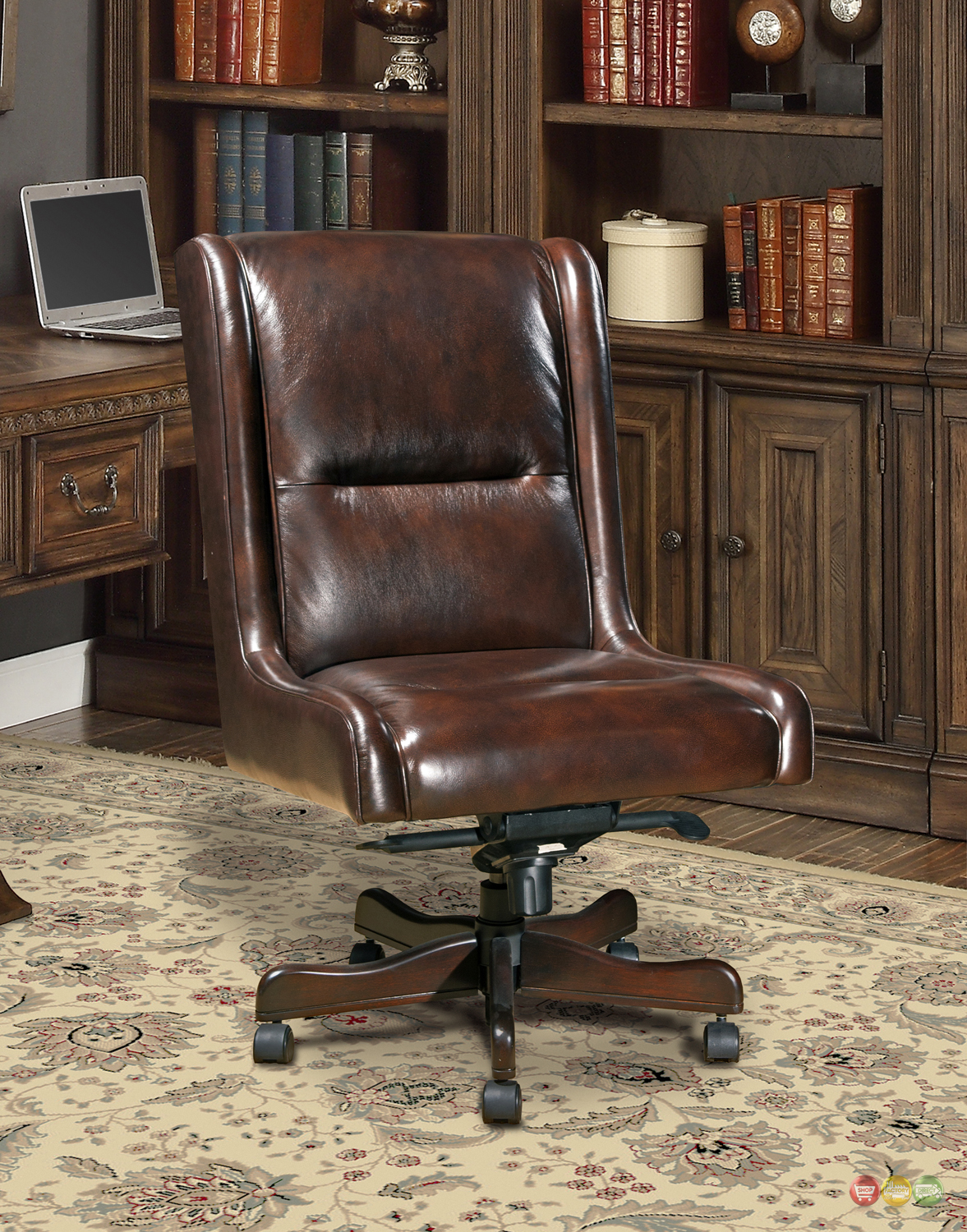 cigar brown genuine leather armless desk chair traditional office furniture ebay. Black Bedroom Furniture Sets. Home Design Ideas