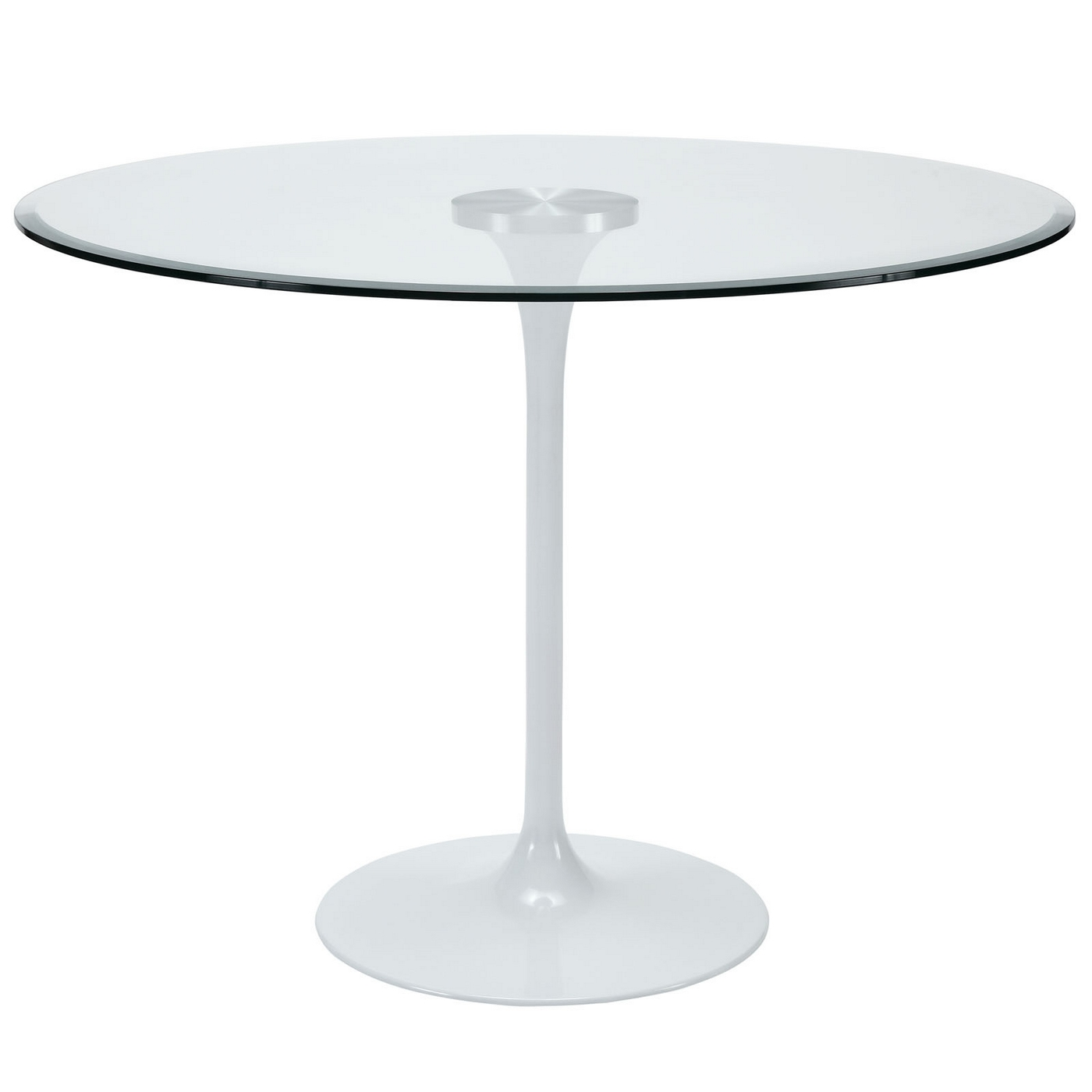 """Round Glass Kitchen Table: Circuit Contemporary 40"""" Round Dining Table With Glass Top, Clear"""