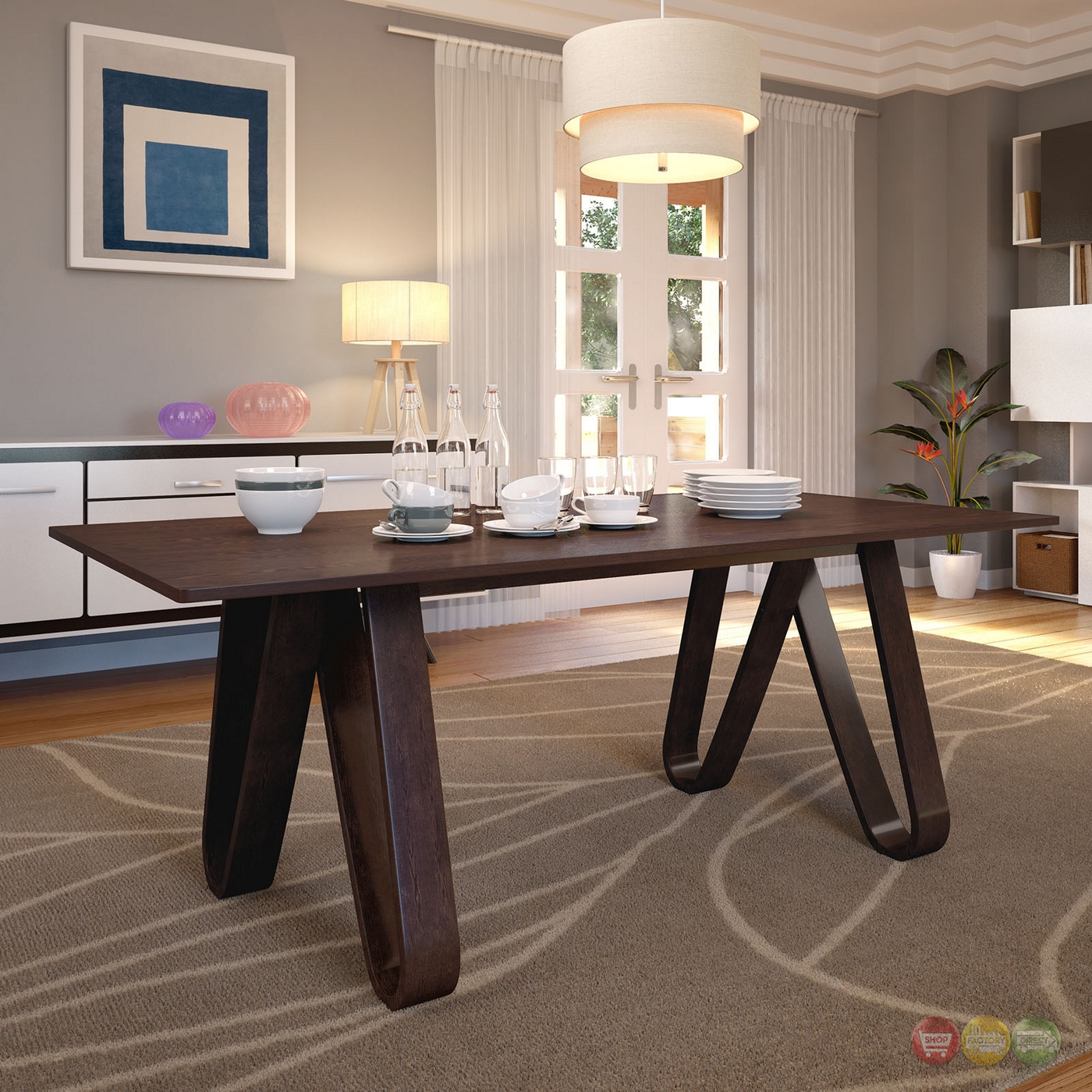 Modern Rustic Dining Table: Cision Modern Rustic Wood Grain Finished Dining Table W