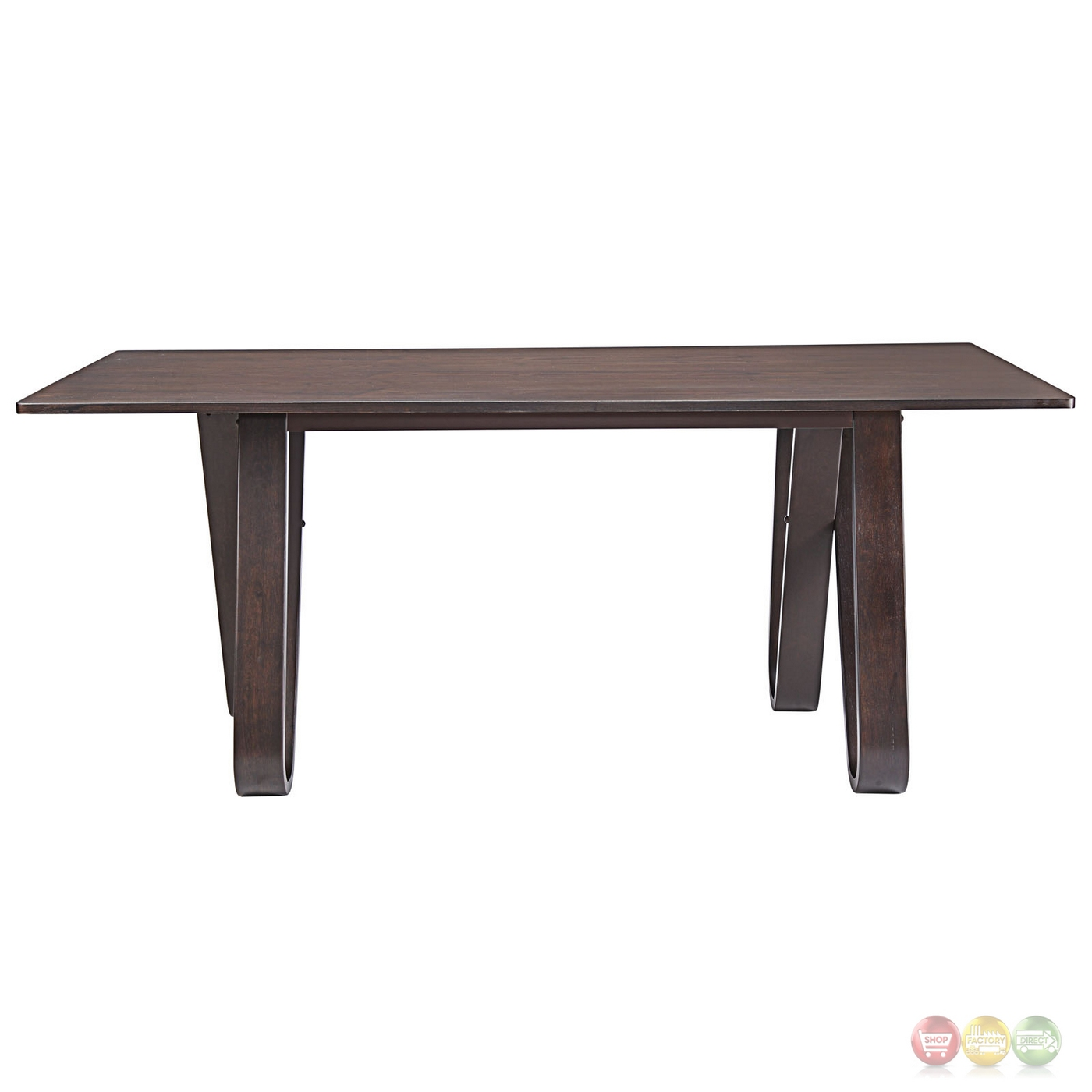 Cision modern rustic wood grain finished dining table w for Stylish wooden dining table