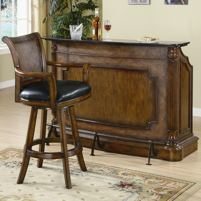 Clarendon Traditional Island Style Bar With Marble Top Coaster