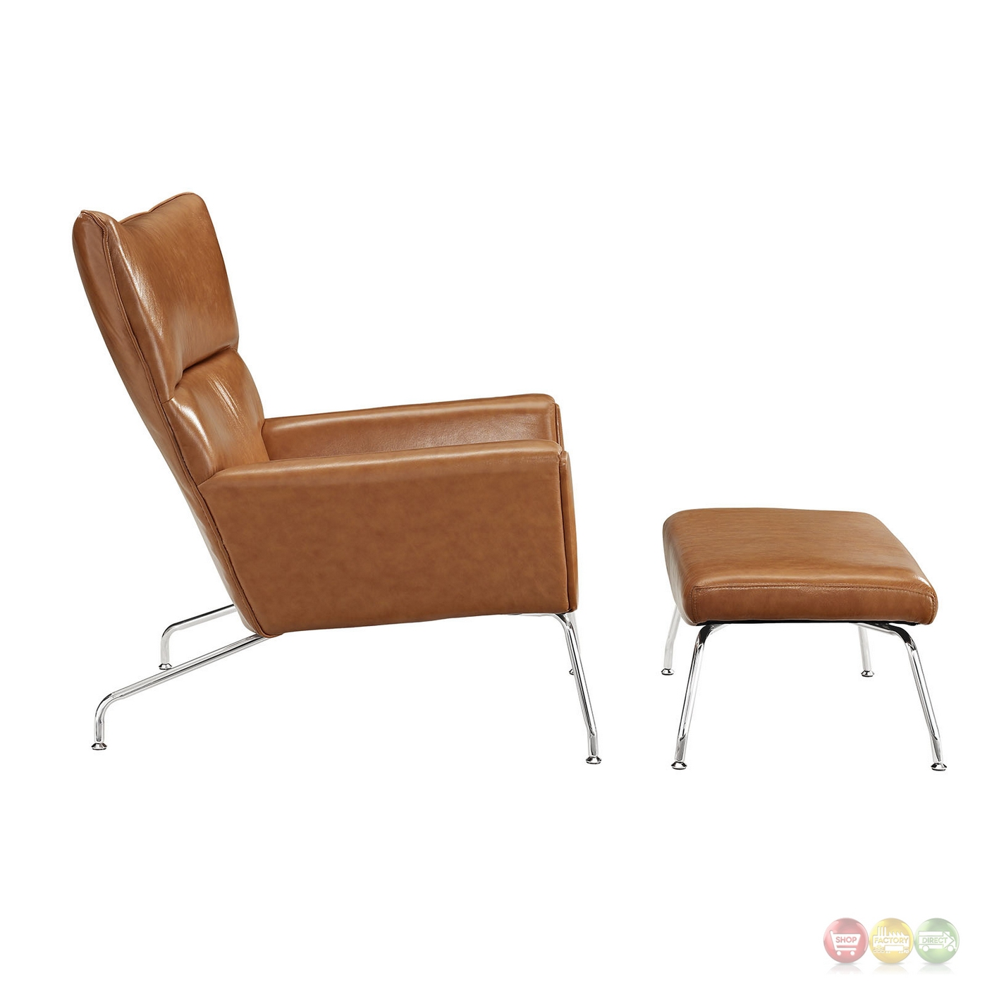Class modern leather wing tipped lounge chair matching for Matching lounge furniture