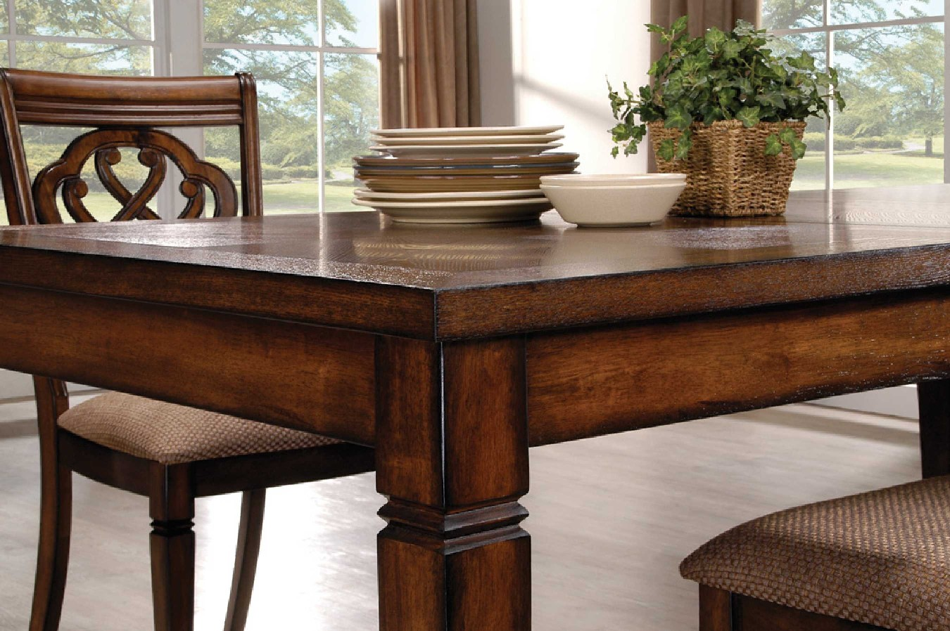 Oak transitional style 7 piece dining room table and for Oak dining room set