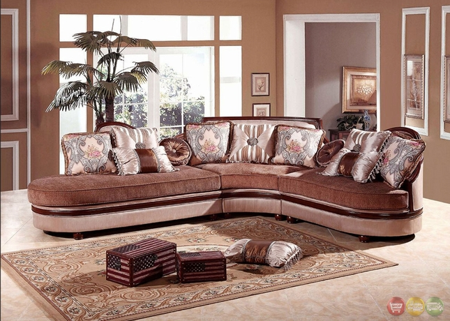Classic Style 3 Piece Curvy Multicolored Sectional Sofa Decorative Accent Pillows