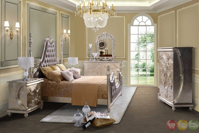 Classic Victorian Style Button Tufted Queen Size Metallic Bedroom Set  HD 13001