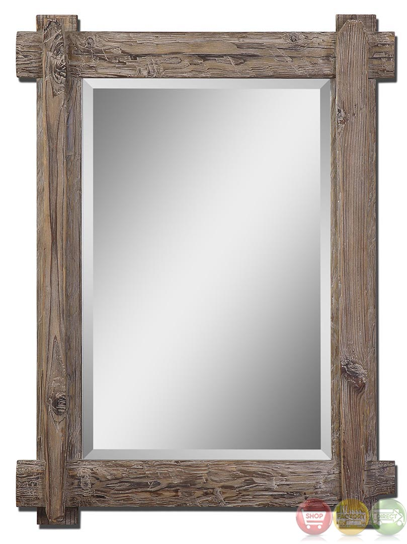 Claudio rustic light walnut stained wood vanity mirror 07635 for Rustic mirror