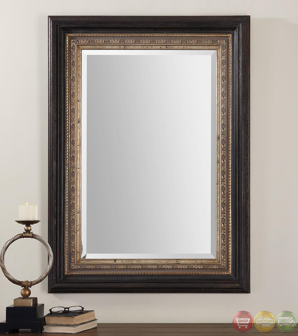 Clermont contemporary distressed dark bronze accented for Contemporary mirrors