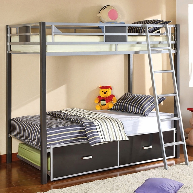 Cletis I Contemporary Silver and Gun Metal Bunk Bed with Movable Ladder
