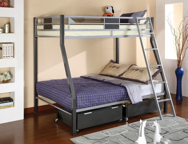 Cletis II Contemporary Silver and Gun Metal Bunk Bed with Movable Ladder