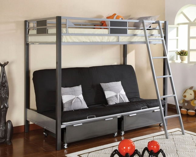 Cletis III Contemporary Silver and Gun Metal Twin Bed with Full Size Futon Base