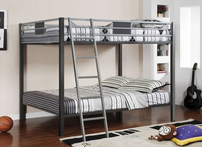 Cletis IV Contemporary Silver and Gun Metal Bunk Bed with Movable Ladder